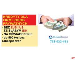 Kredyty dla firm i osób prywatnych/ bez ZUS i US/ na stracie/ cała Polska/
